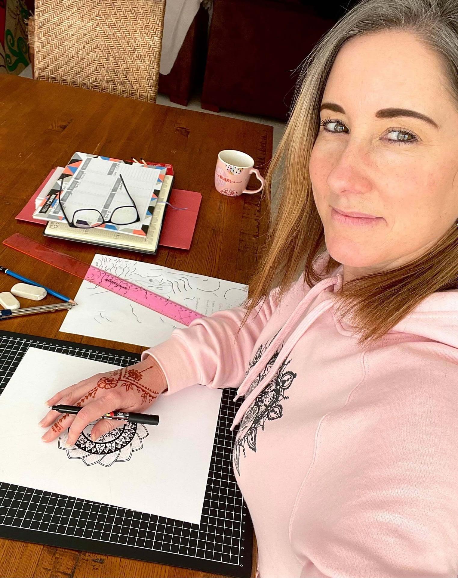 Samantha creating her beautiful artwork!